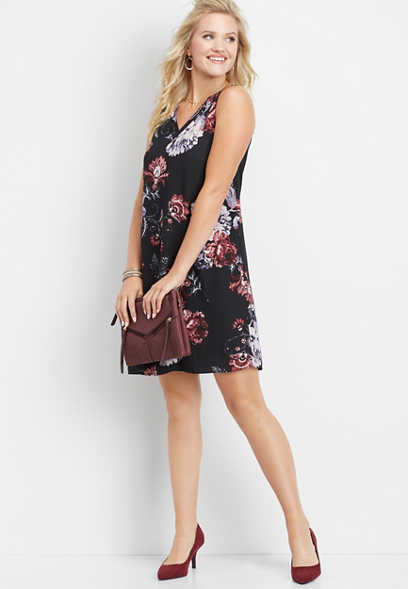 v-neck floral print shift dress