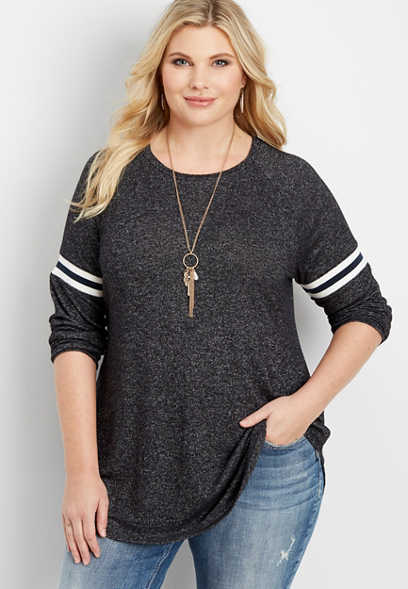 plus size 24/7 long striped sleeve tee
