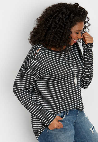 plus size 24/7 lattice shoulder stripe tee
