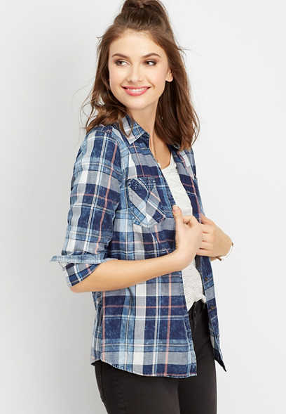 plaid stitch detail button down shirt
