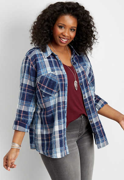 plus size plaid stitch detail button down shirt
