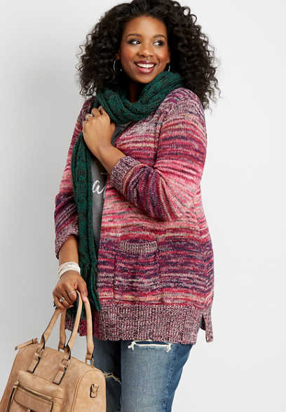 plus size marled spacedye cardigan