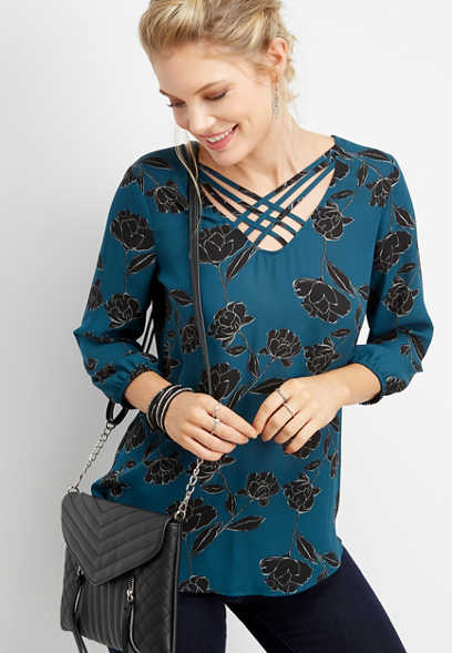 floral print lattice neck blouse
