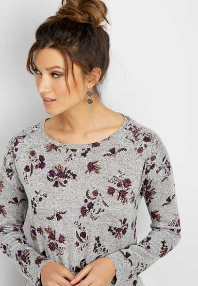24/7 floral lattice shoulder tee