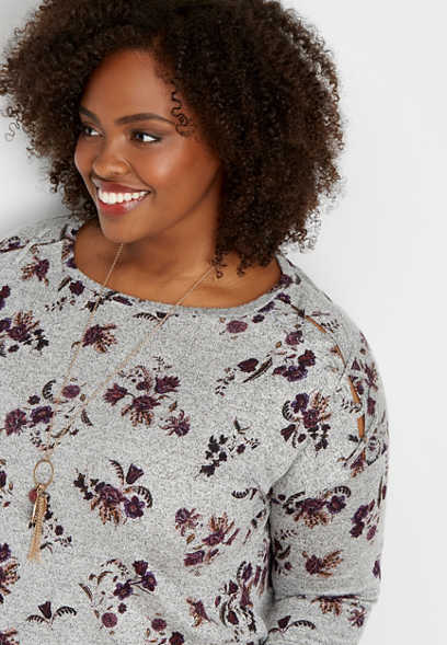 plus size 24/7 floral lattice shoulder tee