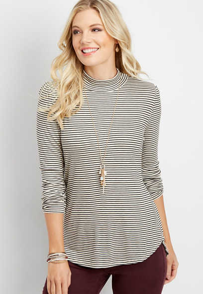 24/7 stripe mock neck solid tee