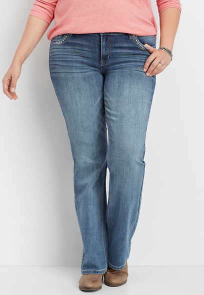 plus size DenimFlex™ embellished back pocket slim boot jean