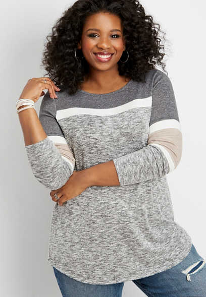 d266def8741 plus size 24 7 colorblock tunic varsity tee