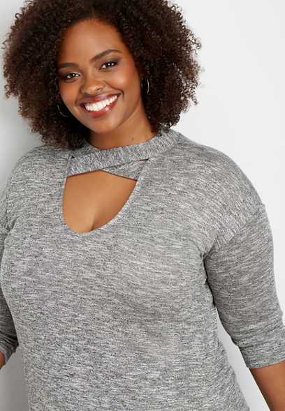 plus size 24/7 strappy neck solid tee
