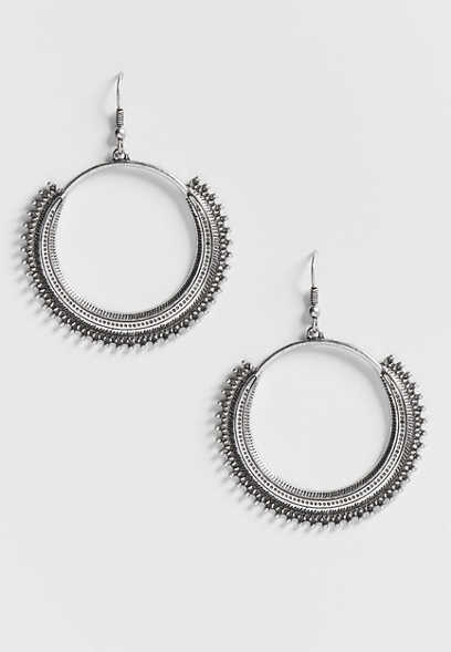 gear trim hoop earring