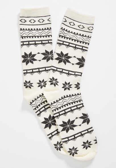 fairisle print crew socks
