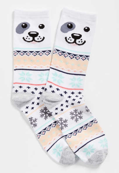 fairisle dog crew socks
