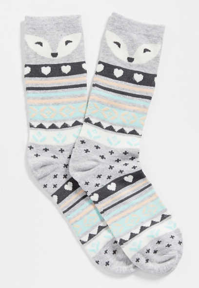 fairisle fox crew socks