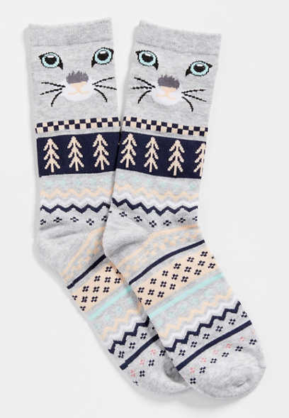 fairisle cat crew socks