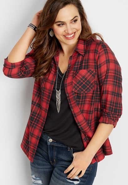 8481ba8e28f plus size plaid button down shirt