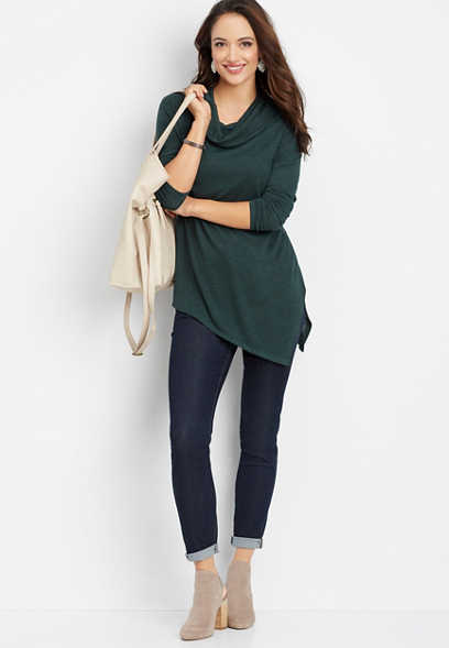 24/7 asymmetrical cowl neck tunic top