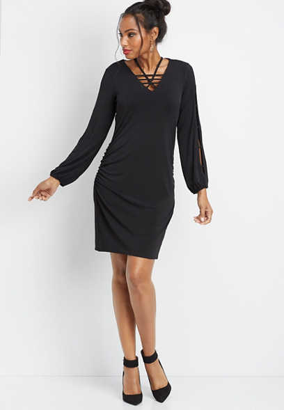 lattice neck long sleeve dress