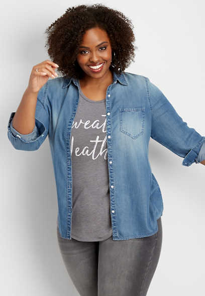 plus size denim button down shirt