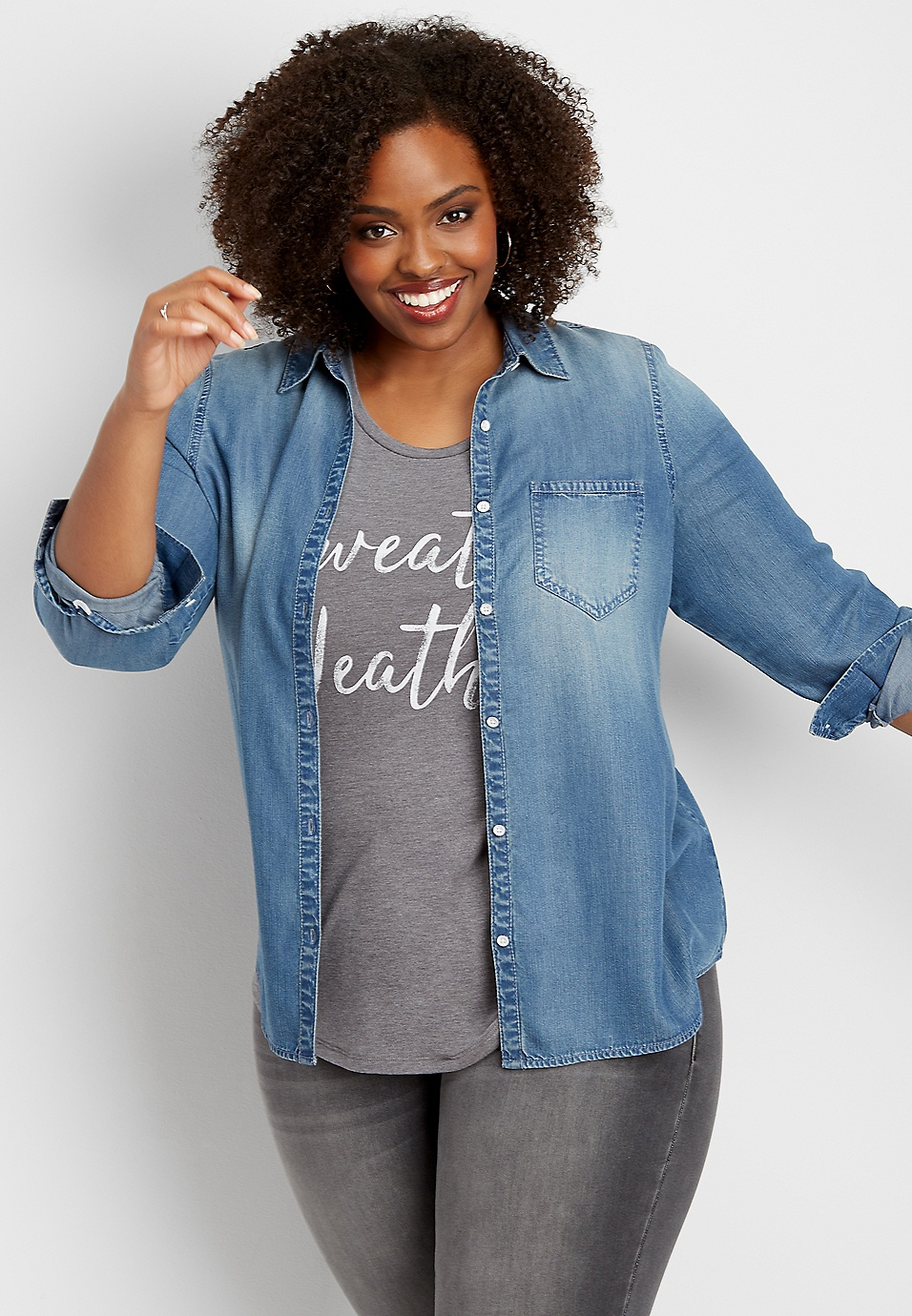 7245f42e9b2 plus size denim button down shirt