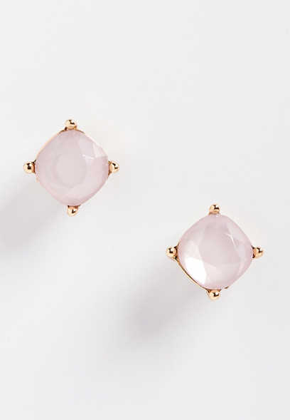 pink stone stud earring
