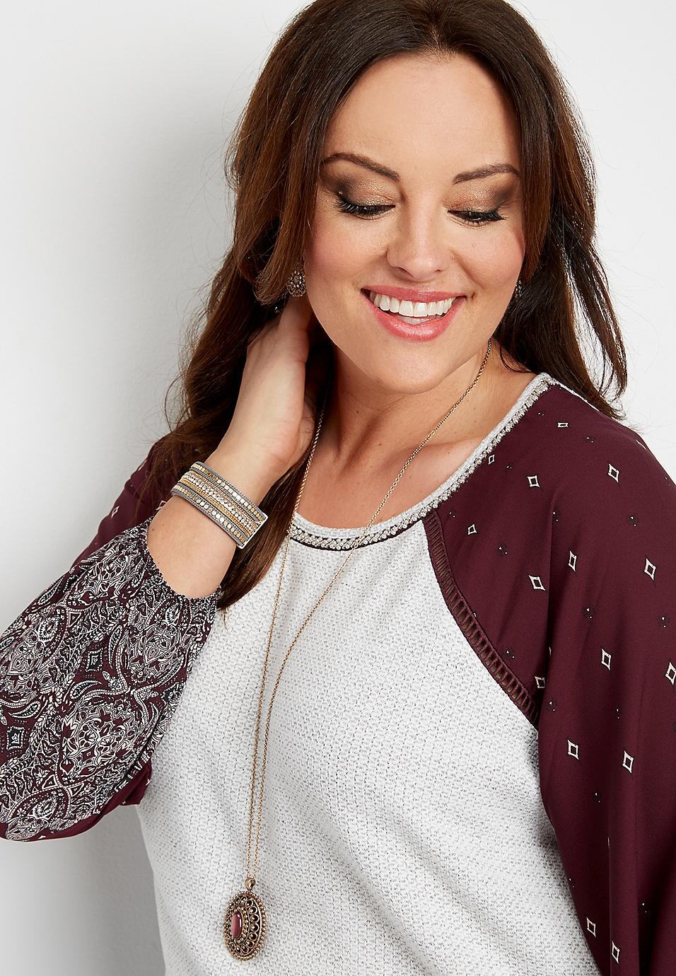 ad9e7c18142 plus size embellished neck chiffon sleeve top