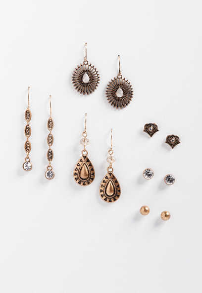 six piece stud and drop earring set