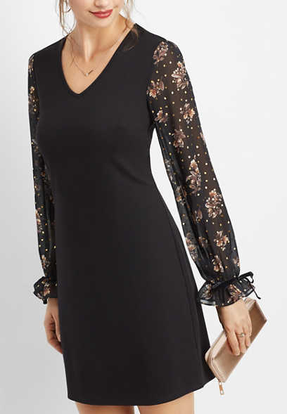 floral chiffon sleeve ponte dress