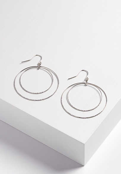 double hoop textured earring
