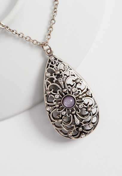 lilac stone teardrop pendant necklace