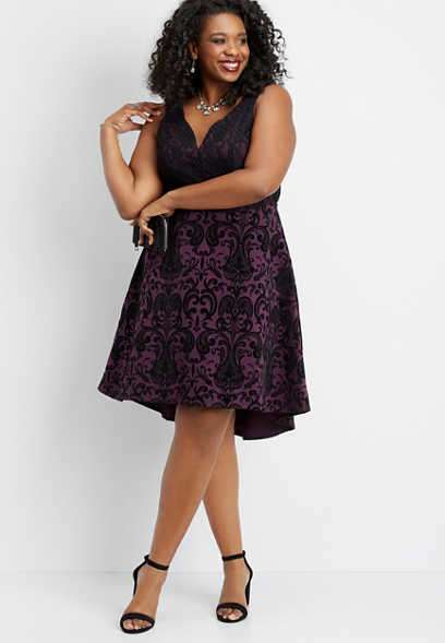plus size floral flecked high low dress