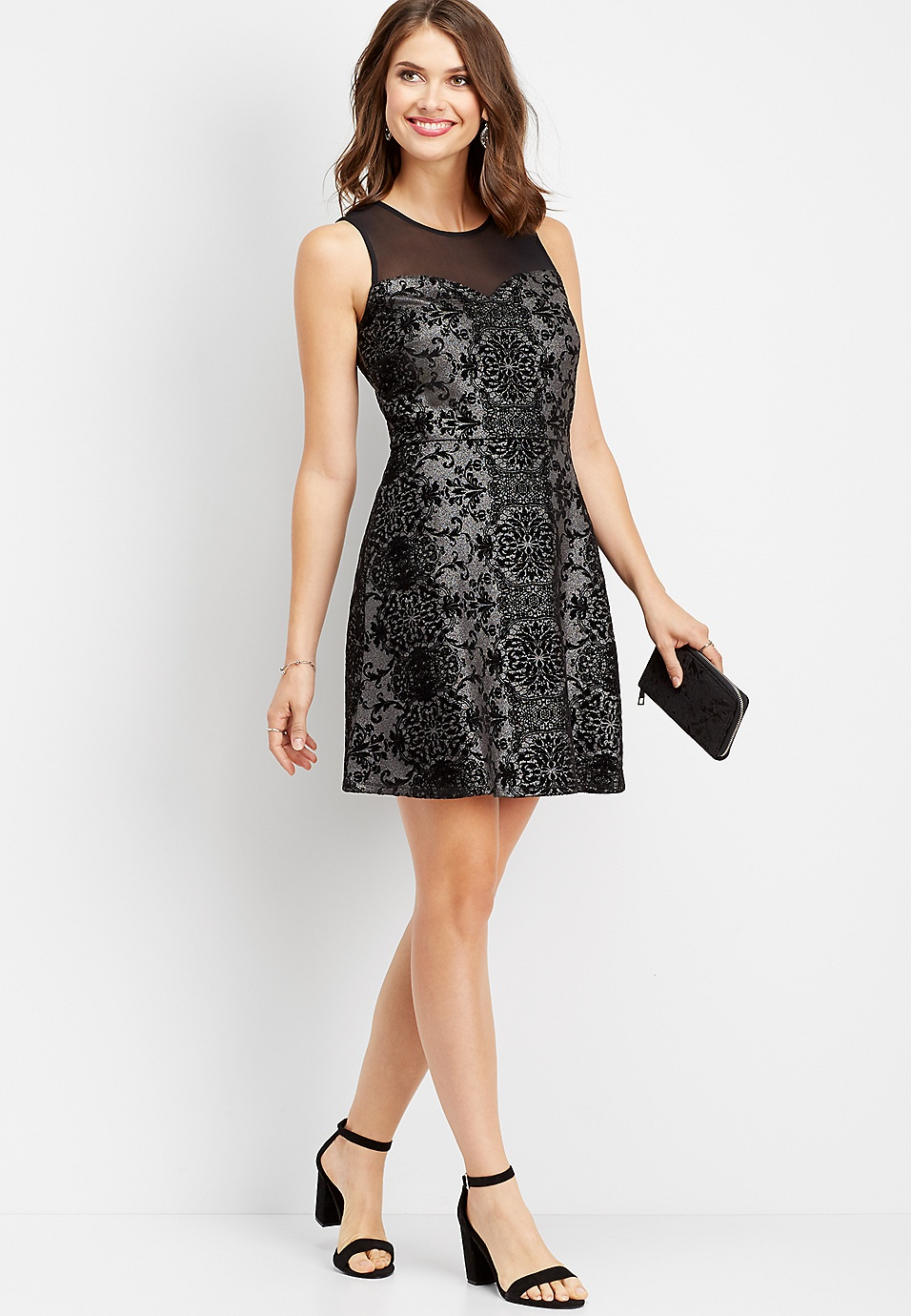 2aaba2400b6 silver flecked mesh dress
