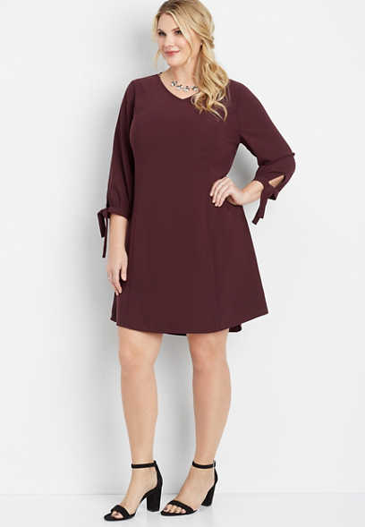 plus size tie sleeve shift dress