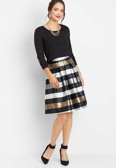 two piece stripe skirt dress