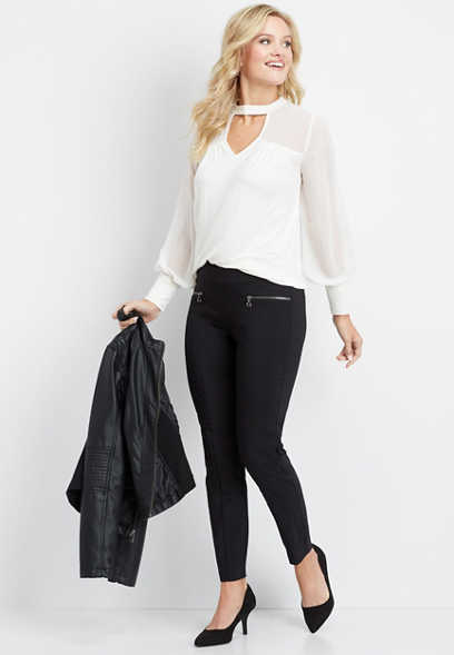 black pull on stretchy skinny ankle pant