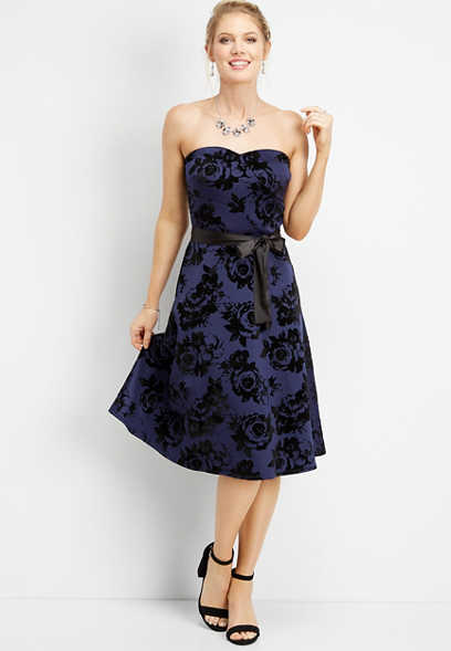 floral flecked strapless midi dress