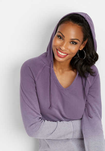 dip dye hooded tunic sweatshirt