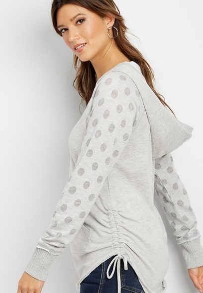 dot sleeve cinch side hoodie