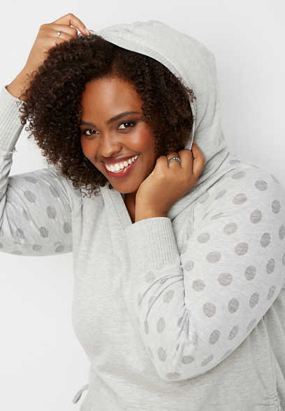 plus size dot sleeve cinch side hoodie