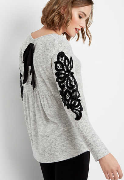 lace up back velvet trim pullover