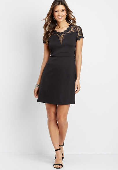 lace inset ponte dress