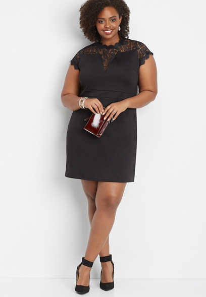 plus size lace inset ponte dress