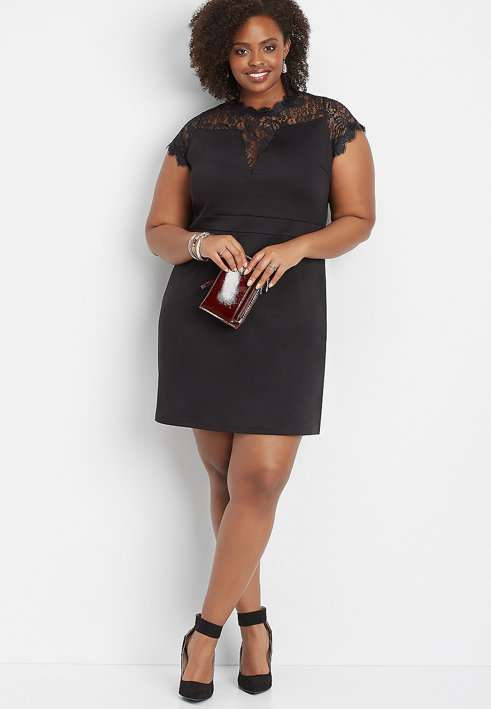 plus size lace inset ponte dress | maurices