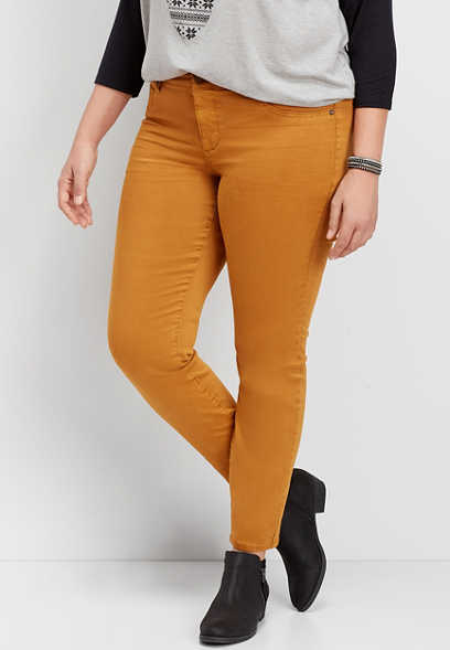 plus size DenimFlex™ gold rust color jegging