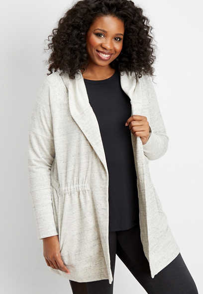 plus size gray cinched waist hooded cardigan