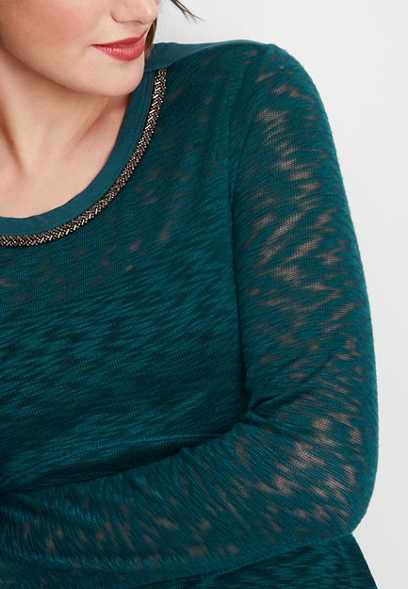 embellished neck textured top
