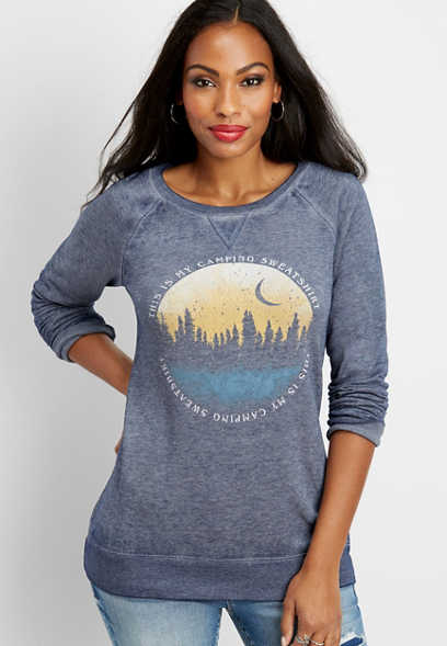 camping sweatshirt graphic pullover