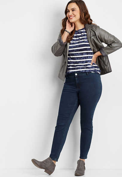 plus size DenimFlex™ high rise dark wash jegging