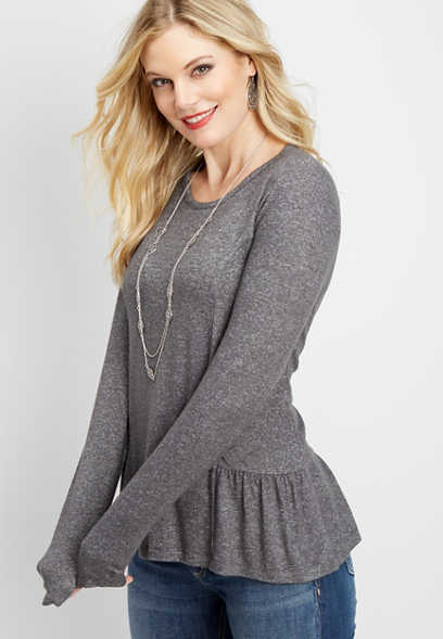 solid long sleeve peplum tee