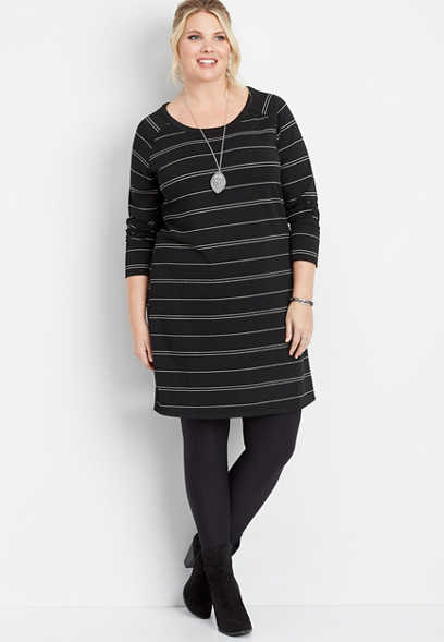 plus size stripe x-back dress