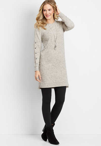 button sleeve sweater dress